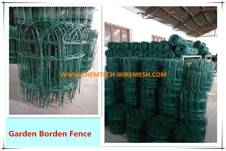 Beautiful Garden Border Fence / Plastic Coated Lawns Decorative Border Fence  / Green Wire Garden Edging