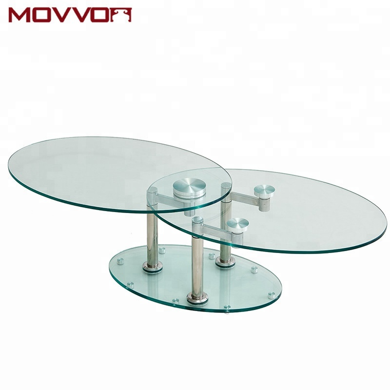 Modern Functional Swivel Tempered Gl Ceramic Top Metal Legs Oval Coffee Tables Table