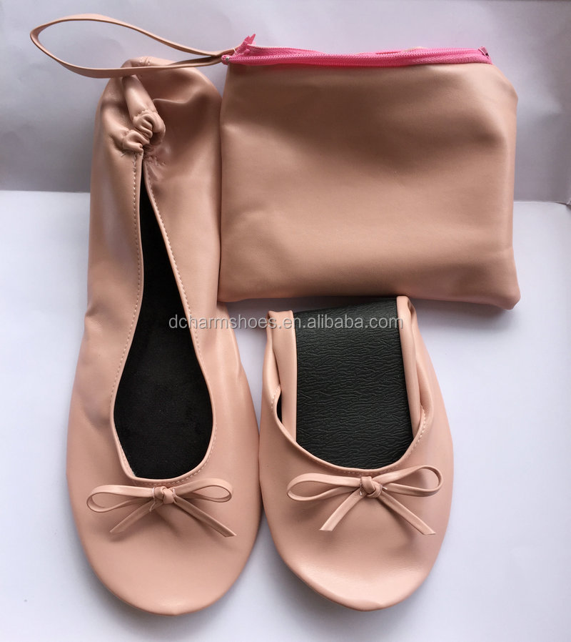 Pretty sweet female foldable footwear flat handmade by factory in 2017