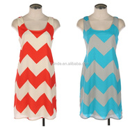 women WHOLESALE FASHION CHEVRON PRINT SLEEVELESS WOVEN DRESS WITH INNER LINING