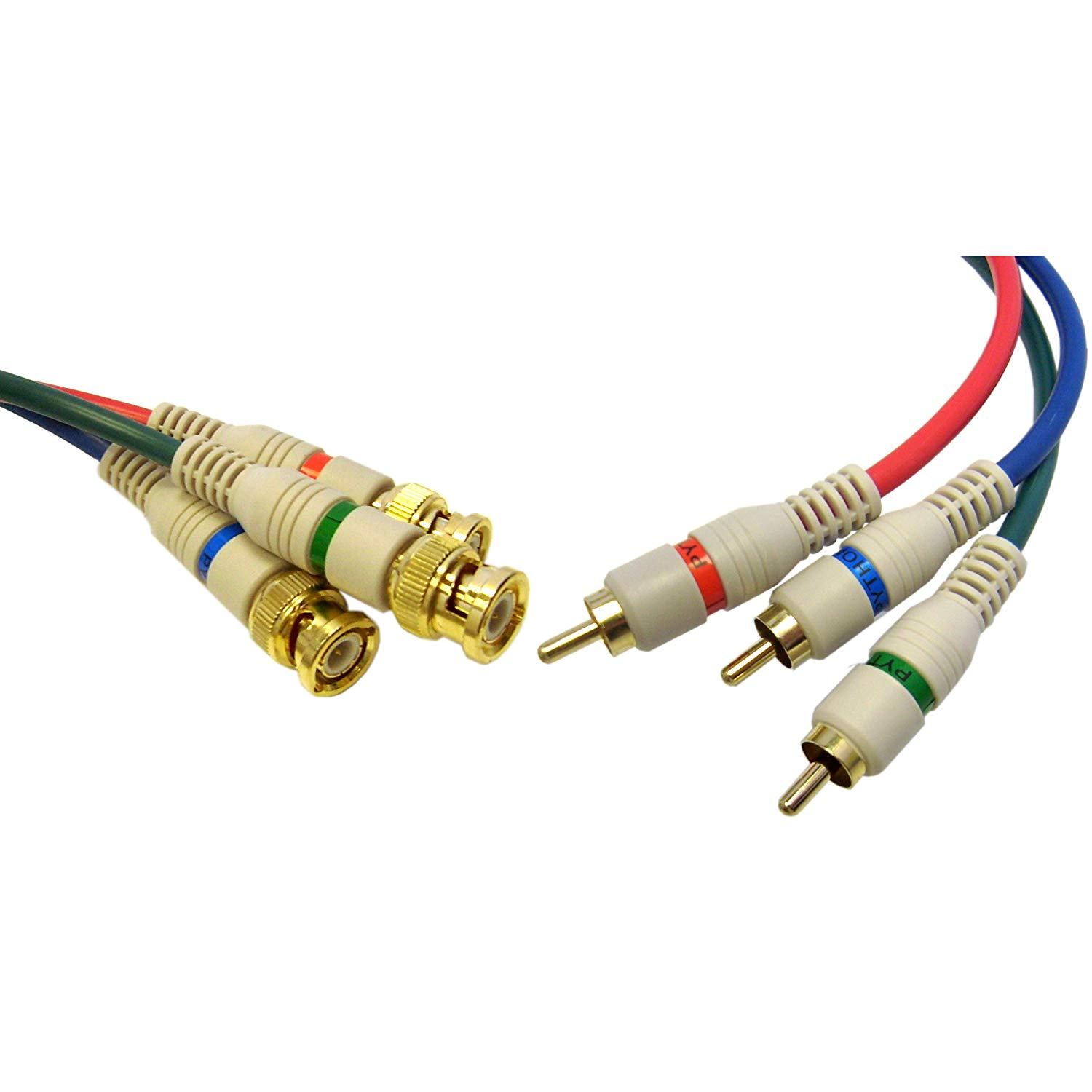 GadKo High Quality Component Video RCA to BNC Component Conversion Cable, 3 RCA Male to 3 BNC Male, 6 foot