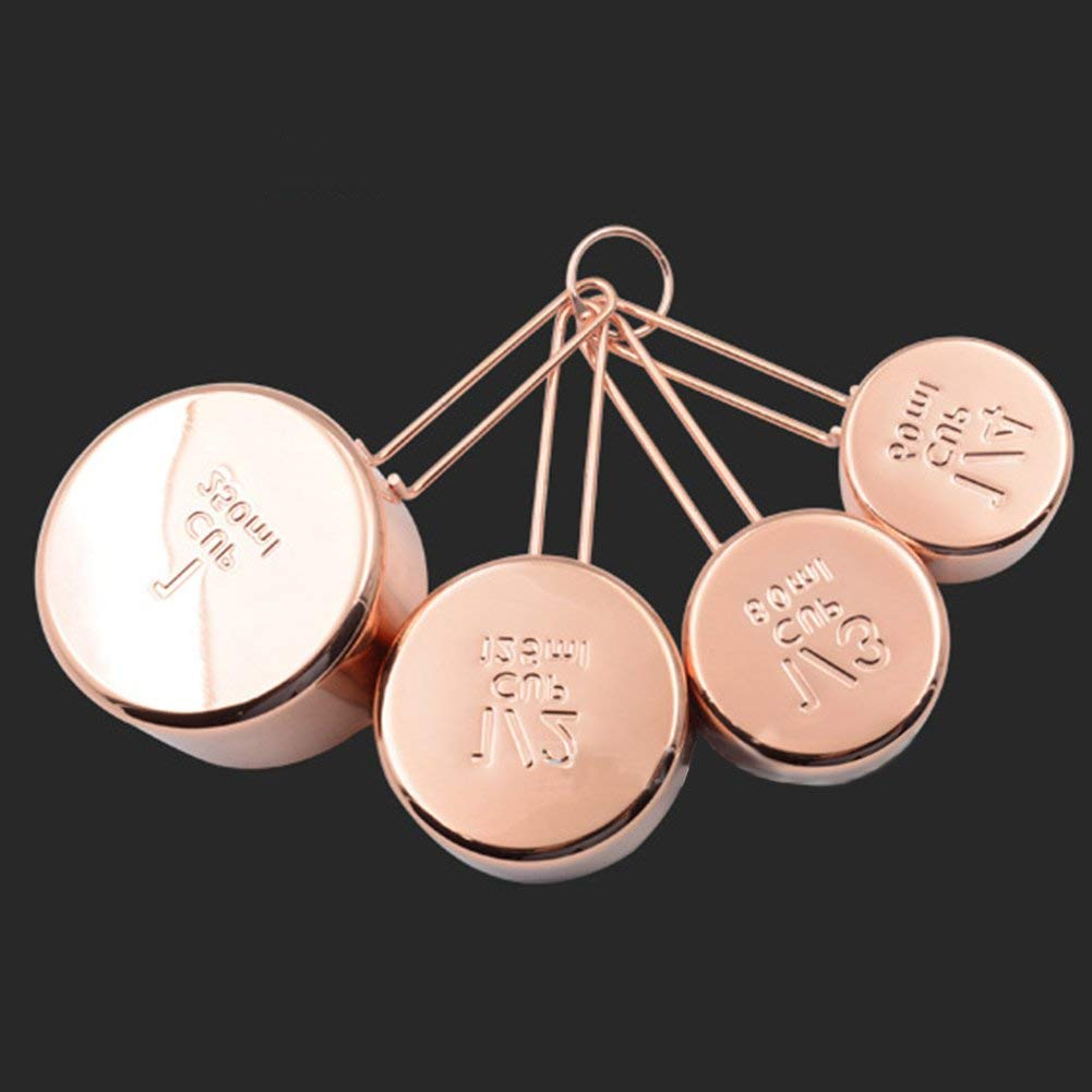 4PCS/Set Rose Gold Stainless Steel Measuring Cups Gorgeous Heavy Duty Mirror Polished Measuring Spoon Home Kitchen Cooking Baking Coffee Tea Tool