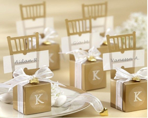 Miniature Gold Chair Treat Box Wedding paper favors candy box