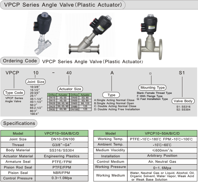Y-type plastic angle seal valve angle avlve