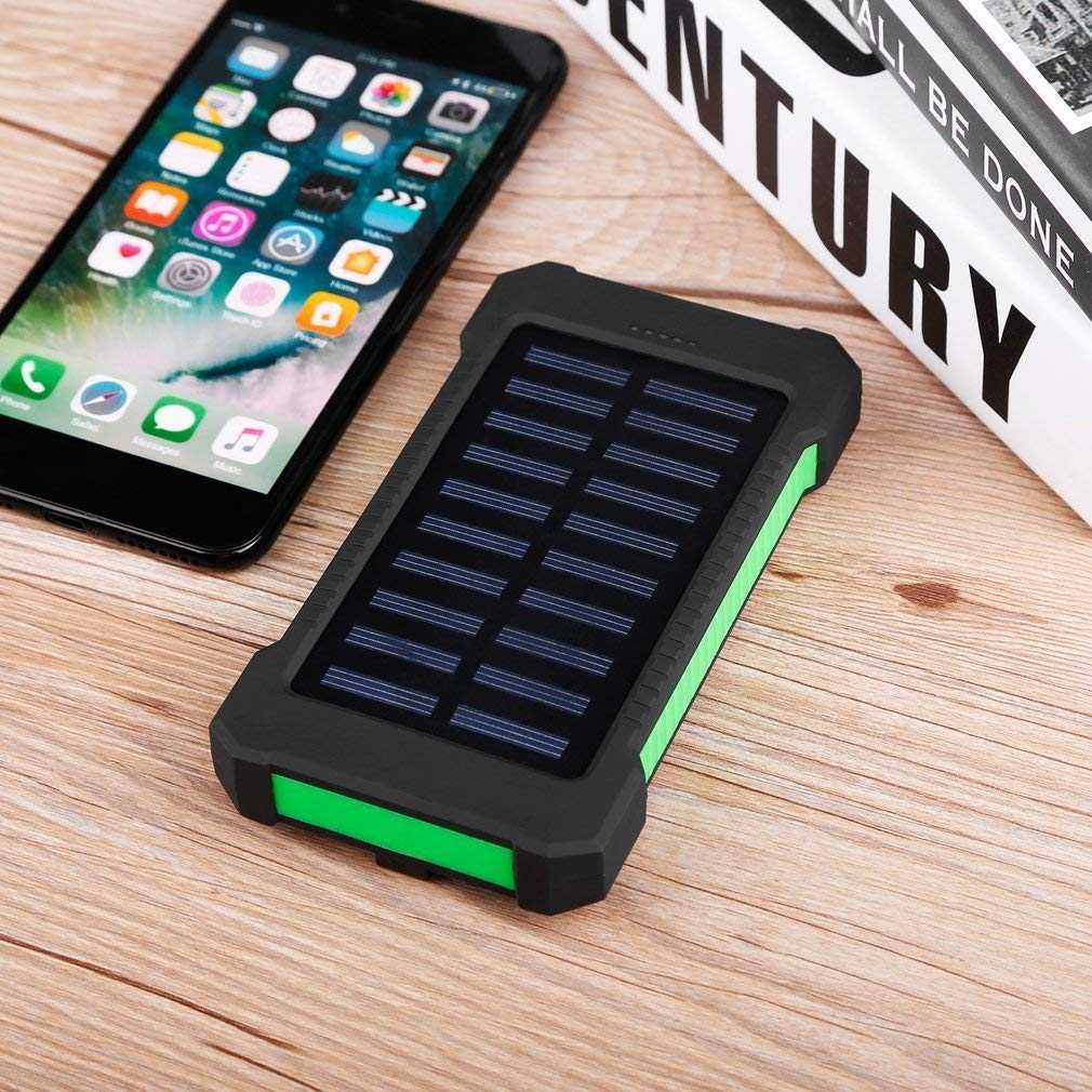 green Search Terms: Waterproof, 300000mAh Power Bank, Solar Charger, Dual USB Waterproof 300000mAh Portable Solar Charger Dual USB Battery Power Bank