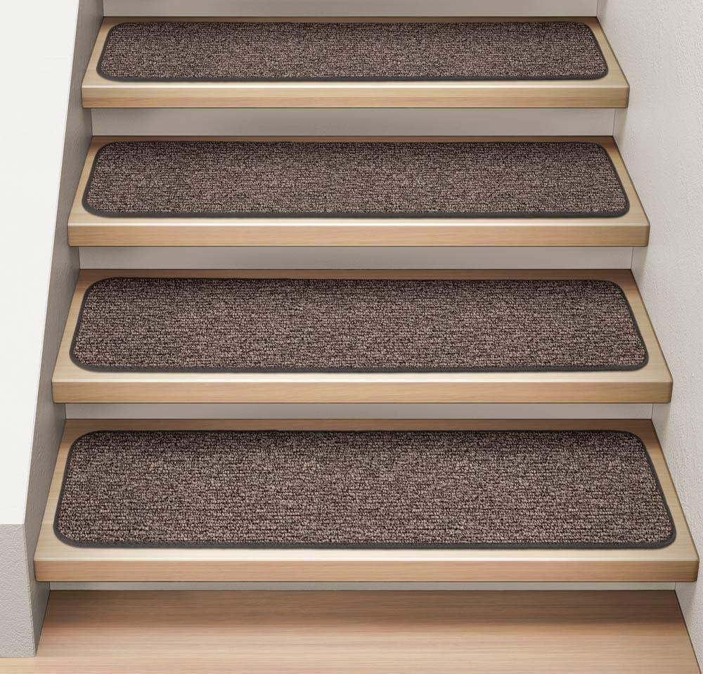 "Set of 12 Attachable Carpet Stair Treads 8""x23.5"" Pebble Gray Runner Rugs"