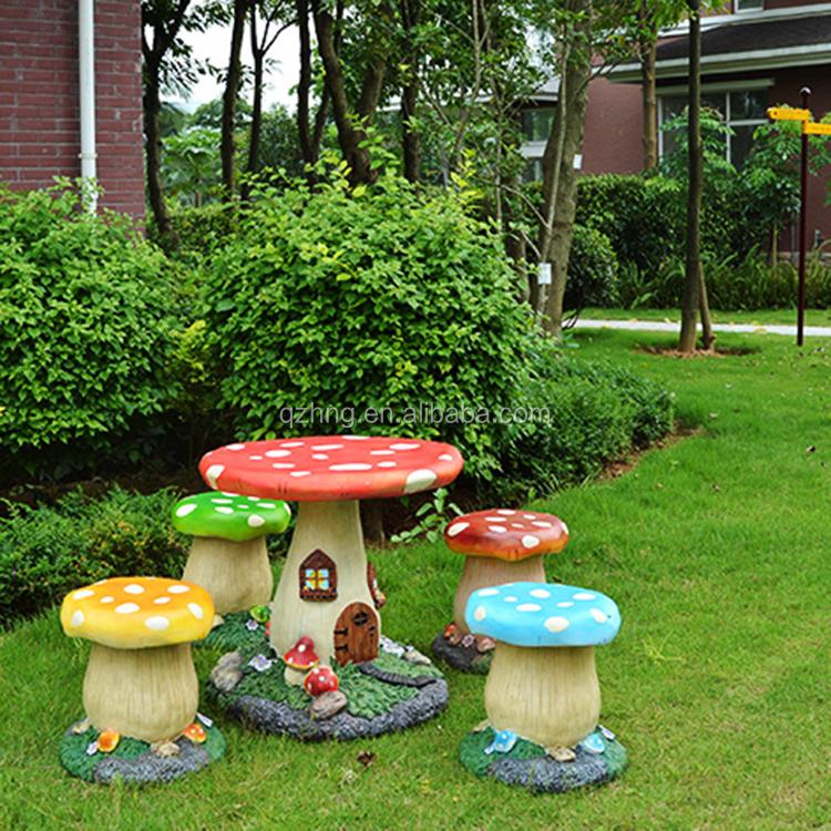 Stone Decoration Fiberglass Kid Mushroom Chair and Table garden furniture outdoor