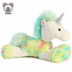Rainbow Green Horse Unicorn Plush Toy With Horn China Factory Custom Cute Cartoon Stuffed Animal Soft Plush Toy Kids Unicorn