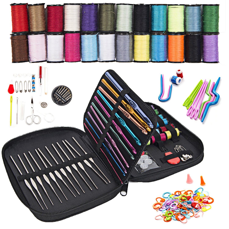 Sewing & Knitting Kit: 98 Piece Sewing Set (1) + Knitting & Crochet Accessory Set (markers, clips, U-needles, V-needles, clips) (1) + Jumbo Organizer Pouch (1)