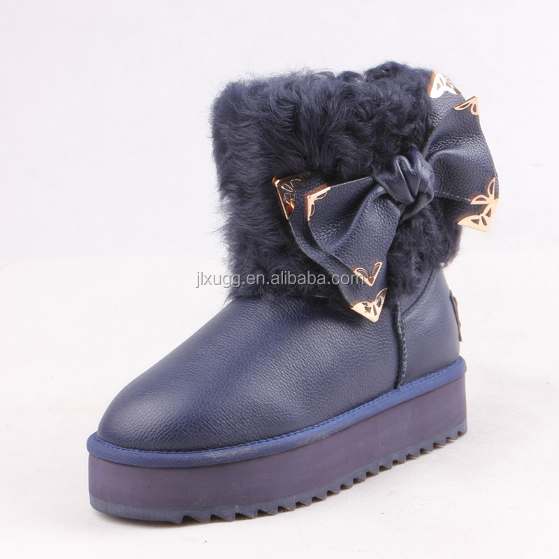 free samples new design winter snow boots children genuine leather sheepskin boots girl kids snow shoes