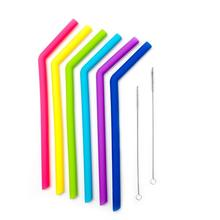 Reusable Silicone Straw, Extra Long Silicone Drinking Straws Flexible Bend Smoothies Straws with Cleaning Brushes