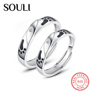 Unique Design Jewellery 925 Sterling Silver Footprint Couple Ring for Lovers