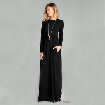 Vente En Gros Robe Longue Femme Musulmane À Manches Longues Robe Longue Vente En Gros Plaine Noir Fluide À Manches Longues Robe Maxi Buy Robe Maxi À