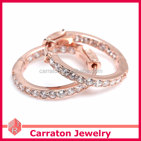 100% Real Silver Earrings Wholesale Small Size Huggie Rose gold plating Hoop Earrings