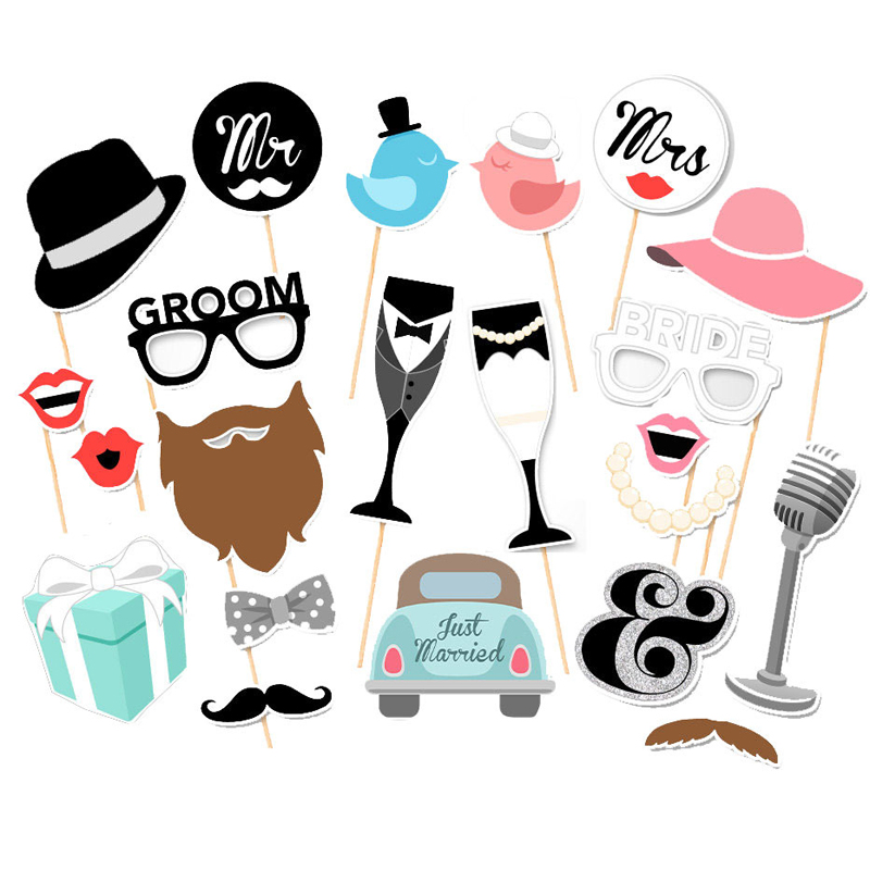 wedding photo booth props party funny mask diy mr mrs. Black Bedroom Furniture Sets. Home Design Ideas