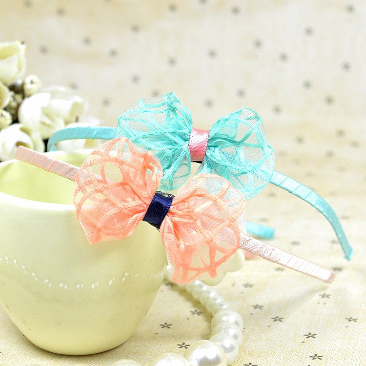 C84744A Girls Bow hair bands/Cute mesh bow headband hair accessories