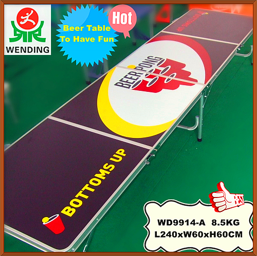Taizhou wending aluminum MDF party game beer pong 8 foot 4 <strong>folding</strong> table