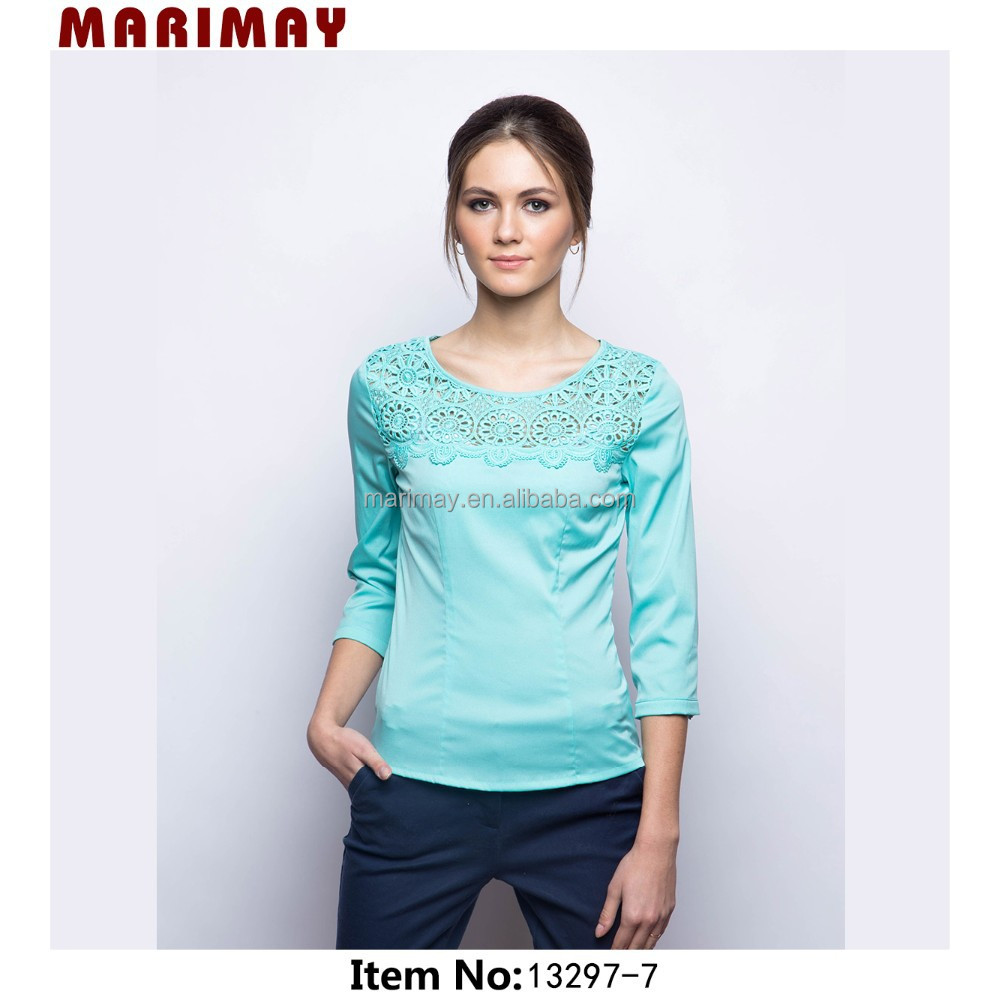 2015 Fashion Latest Design 3/4 Long Sleeves Tops Images Of Ladies ...