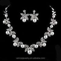 2017 New Fashionable Bridal Jewelry Sets of Accessories Imitation Pearl Necklace Set Popular Wedding Jewelrys