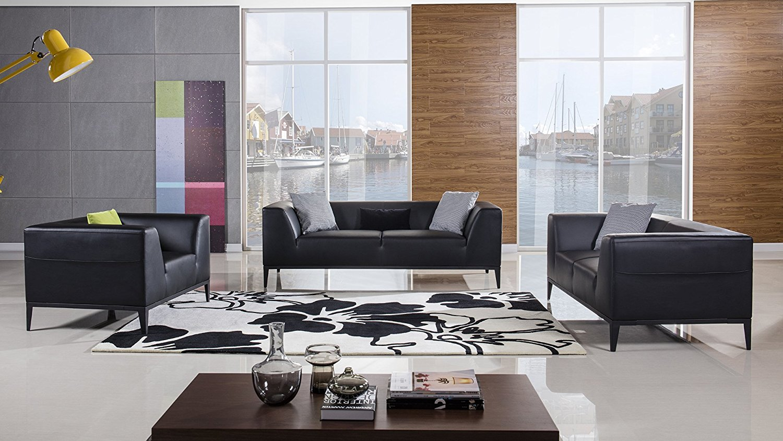American Eagle Furniture Modern Minimal 3 Piece Living Room Leather Sofa Set, Black