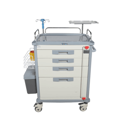 ABS plastic hospital emergency trolley with 4 drawers for patient use