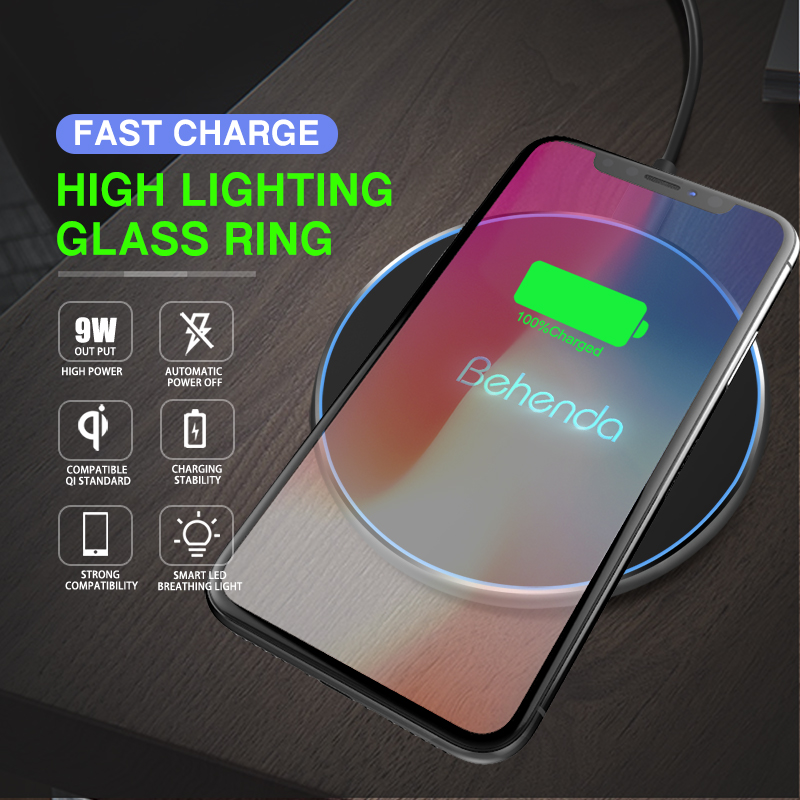 New Release Qi Wireless Charger 10W for iPhone X/8/8 Plus/Samsung Galaxy Note 8/S9/S9+/S8