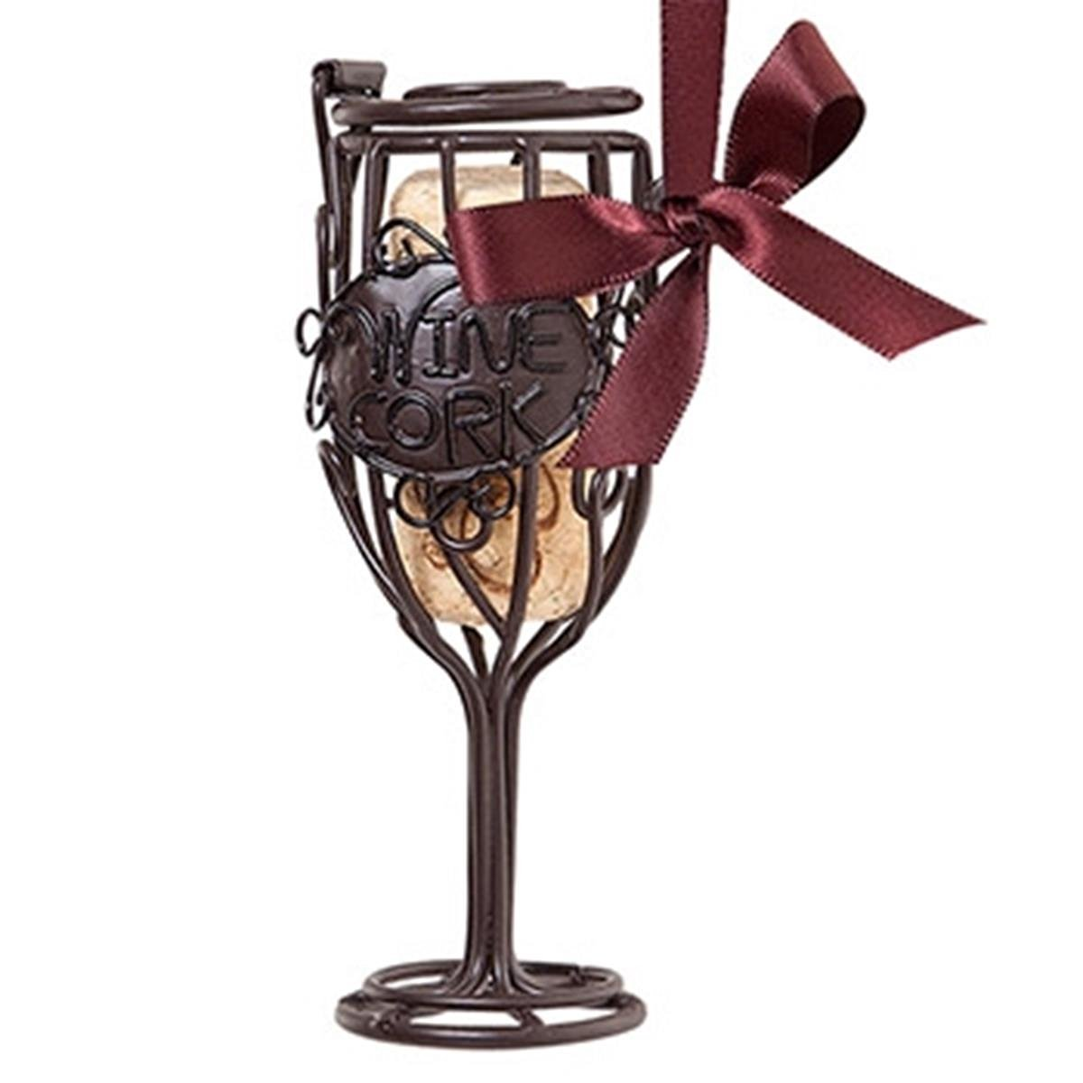 Epic 02-142 Stylish Memorial Wine Glass Cork Cage Bottle Ornament with Satin Bow