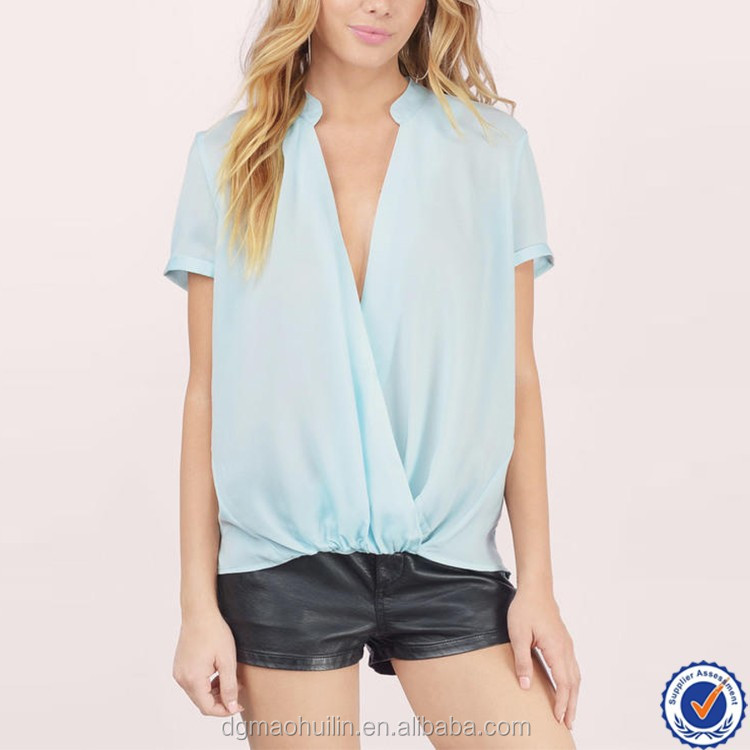 fancy ladies tops short sleeve comfort color drap front wrap blouse