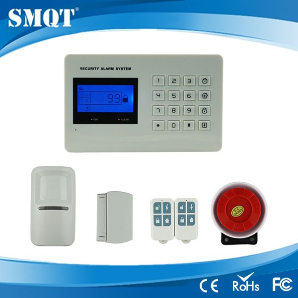 8 wireless and 8 wired alarm zones auto-dail gsm laser security alarm system