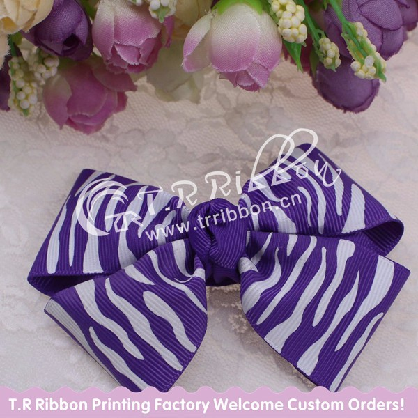 hair accessories with chevron, purple ribbon bow, beautiful, about 4inches
