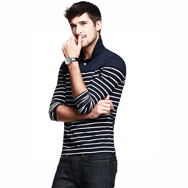 2015 New Style High Quality 100% Cotton T-Shirt Long Sleeve Wholesale Striped Polo T Shirt Men