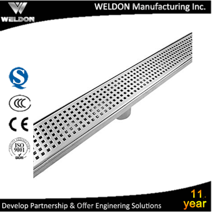WELDON bathroom 304ss conceal mounted rectangular linear floor drain