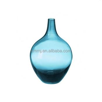 Modern Hand Made Blown Flower Arrangement Art Murano Glass Vase Blue