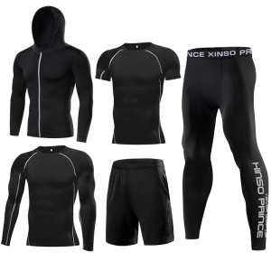 High quality 4 way stretch Nylon/Polyester Spandex Moisture wicking custom men's long sleeve compression shirt