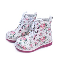 Wholesale kids fashion floral synthetic leather pu boots child girls lace up flat feet club foot shoes with zipper design