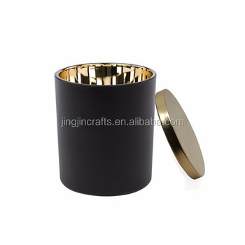 10oz interior plated gold silver rose gold glass candle jar with metal lid candle container