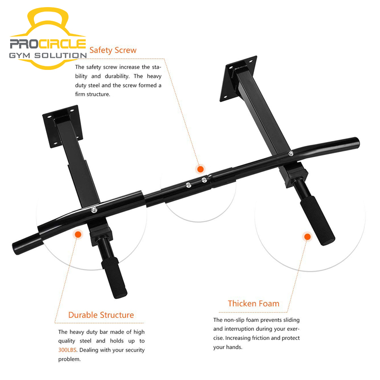 Wall Mount Pull Up Bar Durable Workout Fitness Home Gym Heavy Duty Mounted Chin Up Bar