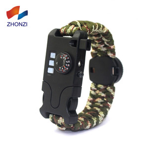 2018 New Tactical Survival Paracord Bracelet Compass LED Emergency Knife Whistle