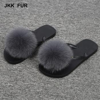 Hot Women Flip Flops Real Fox Fur