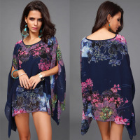 Trade Assurance Summer Fashion Vintage Women Floral Print Pattern Chiffon Blouse Women Long Bat Sleeve t Shirt Tops