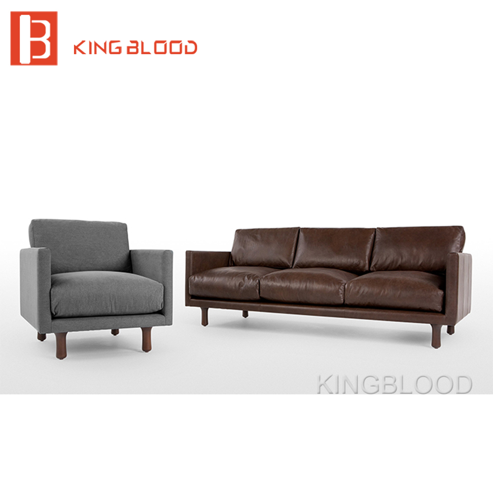 3 Seater Solid Wood Frame Clic Heated Leather Sofa For Home