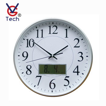 Round Digital Wall Clock With Calendar Month/date/day Of Week Display - Buy  Wall Clocks With Day And Date,Electric Digital Wall Clock,Plastic Round