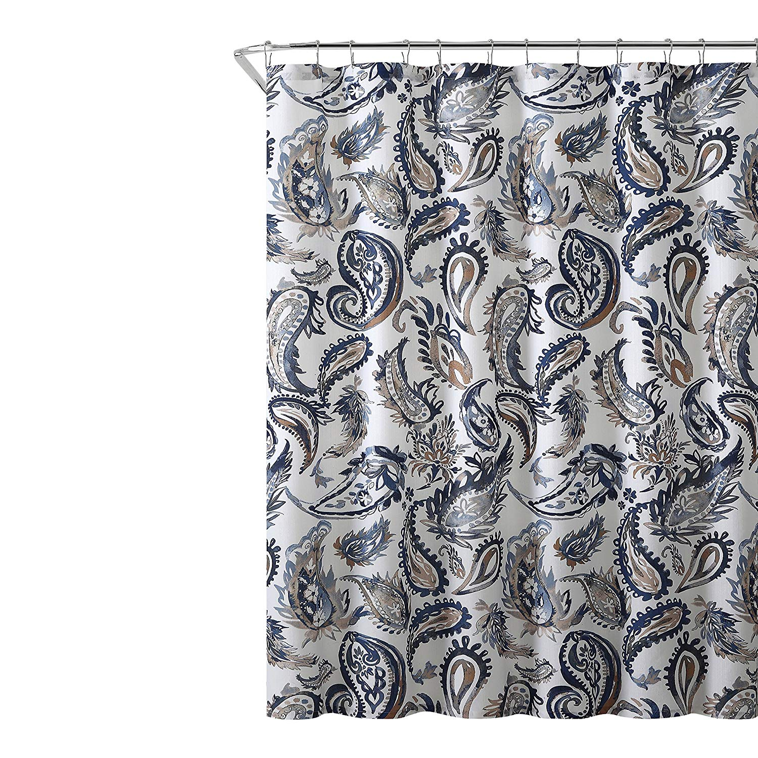 Get Quotations Decorative Navy Blue Gold Fabric Shower Curtain Watercolor Floral Paisley Design 72 X