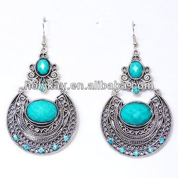 Antique Silver Plated Oval Bohemia Pendant Earrings Retro Style Turquoise Alloy Spanish