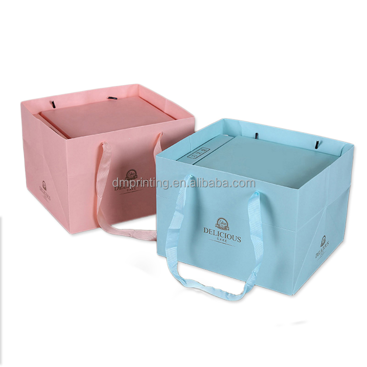 wholesale custom logo foldable PVC window colorful paper cake box with suitable bag