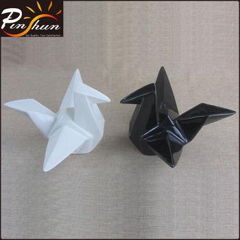 Ceramic Craft Origami Crane Porcelain Bird Home Decor