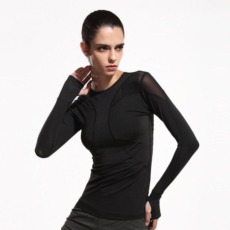 Women Long Sleeve T-shirt Stitching Mesh Yoga Workout Clothes Gym Training Sport T-shirt 3