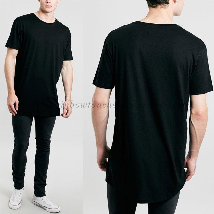 plain black men oversize fit longline t-shirt cotton, View t-shirt ...