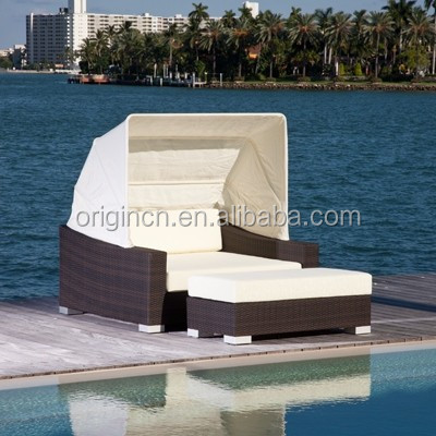 Canopy designed garden outback leisure furniture afternoon time outdoor rattan sunbed