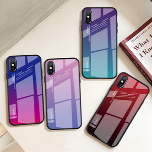 Gradient Change Color Tempered Glass Case Soft TPU Bumper Shockproof Phone Cover Case For iPhone XS Max